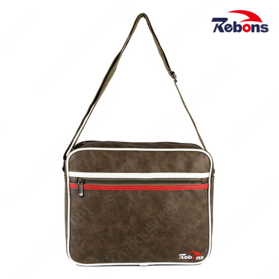 Men's Promotional Tool Leather Messenger Shoulder Bag for Business School and Office