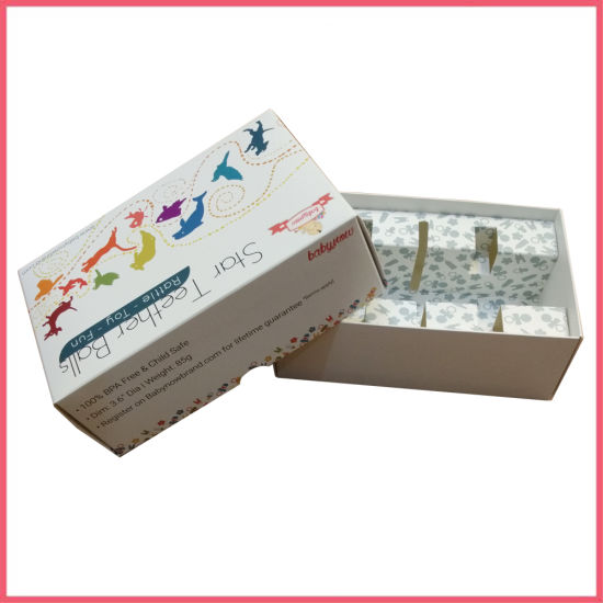 China Shandong Qingdao Flat Packing Top and Bottom Foldable White Card Paper Teether Ball Toy Gift Packaging Box Manufacturer Supplier Factory