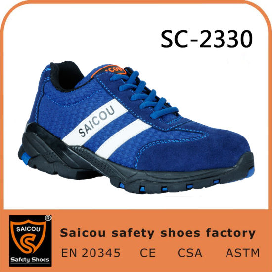Saicou Blue Safety Shoes and Removable Steel Toe Caps for Safety Shoes Woodland Shoes for Men Sc-2330
