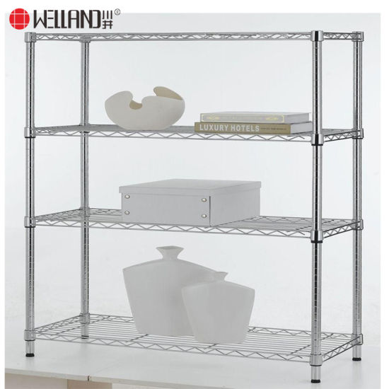 NSF Approval 4 Tier Chrome Plated Livingroom Storage Metal Wire Shelving-Full Sizes Available pictures & photos