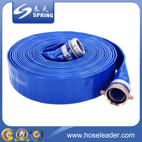 """Blue PVC Layflat Water Delivery Hose 1/"""" 6/"""" Discharge Pump Irrigation Lay Flat"""