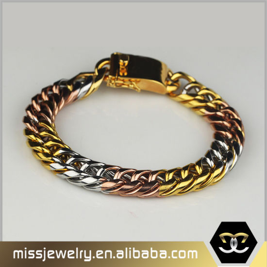 3 Tone Saudi Gold Jewelry Cuban Link Bracelet For Men Mjcb024
