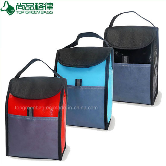 Cheap Non Woven Foldable Cooler Lunch Bag with Flap