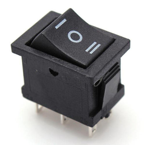 on) off (On) Momentary Large Black Rectangle Rocker Switch 6-Pin Dpdt