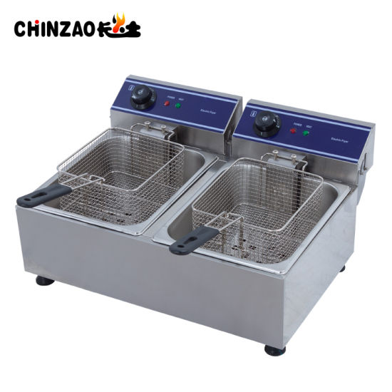 Cheap 20L Dual Tank Countertop Electric French Chips Fryer pictures & photos