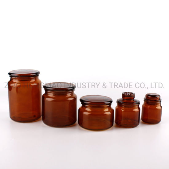 Wholesale Printed Amber Colored Home Decorative Glass Candle Jars for Candle Making with Glass Lid
