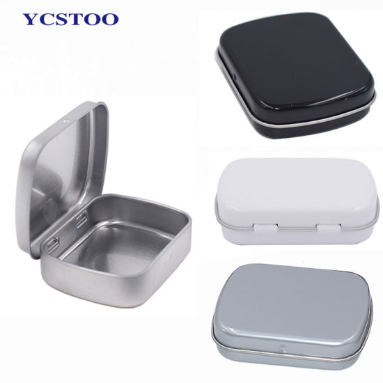 Factory Stock Wholesale Mini Metal Pill Mints Custom Printing Candy Small Tin Box with Hinged