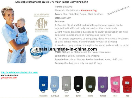 China Adjustable Breathable Mesh Baby Ring Sling Carrier China