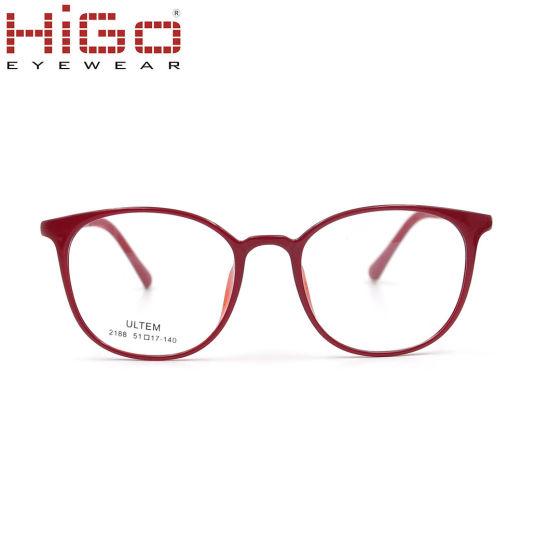 Fashionable Red Full Rim Cat Eye Ultem Eyewear Glasses Frames