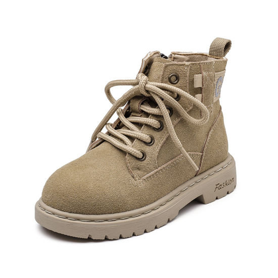 2020girl's Martin Boots New Children's Boots British Middle Leather Boy's Boots and Velvet Children's Ankle Boots