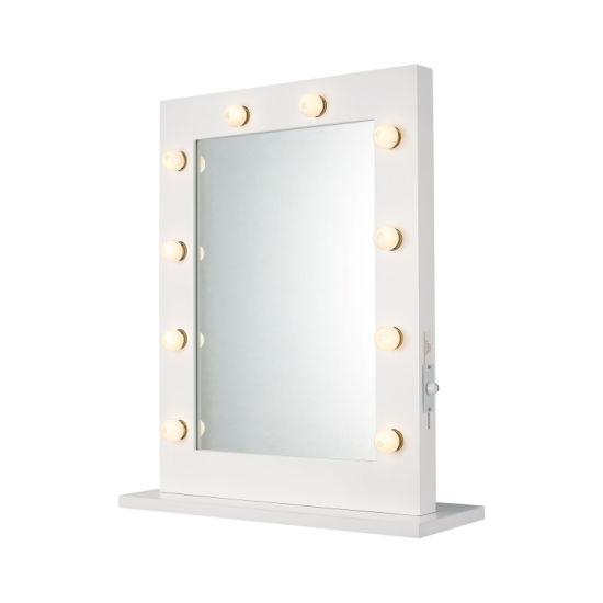 China Wooden Framed Rectangular Led Globe Bulb Lighted Vanity Mirror