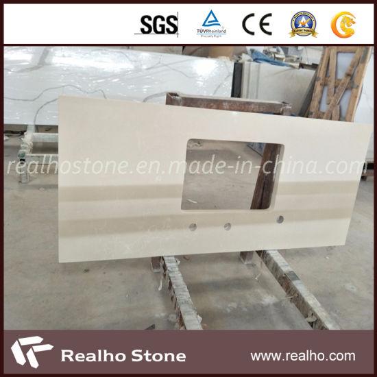 Beige Carrara Veins Artificial Quartz Countertop