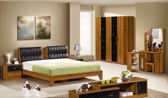 Modern Melamine Finish Bedroom Sets 4 Door Wardrobe High Quality Price Dressing Table Single Bed