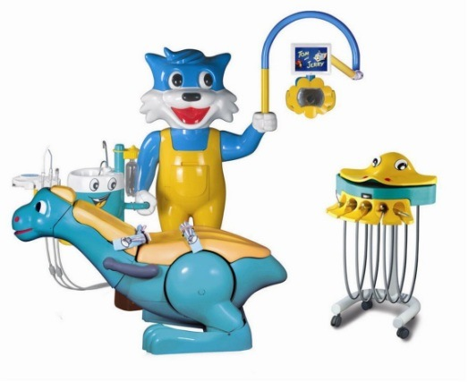 DC8000-Ib Cartoon Tooth-Type Dental Instrument, Dental Unit with Multiple-Function Foot Controller, Cute Dental Chair