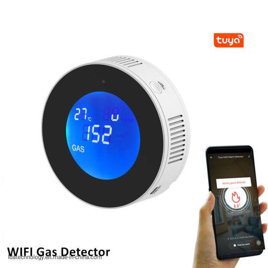 Home Use Tuya WiFi Gas Sensor Tempreature Display Smartlife APP Control