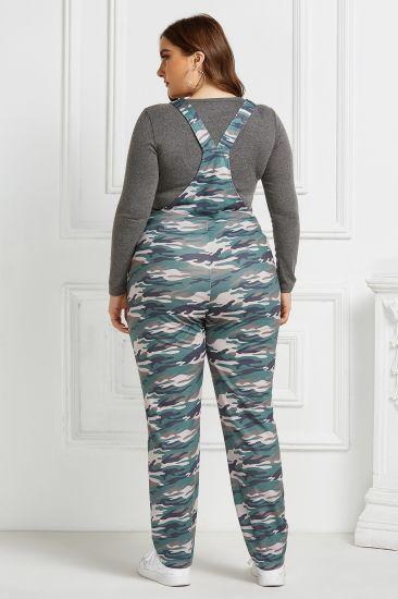 Blue Camouflage Print Suspenders Plus Size Home Pocket Open Back Jumpsuit