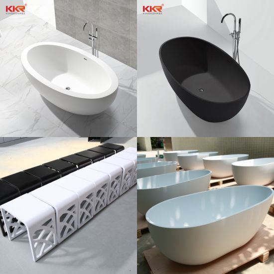 Bathroom Luxury Customized Composite Cast Oval Acrylic Solid Surface Artificial Resin Stone Sanitary Ware Hotel Corian Freestanding Bathtub