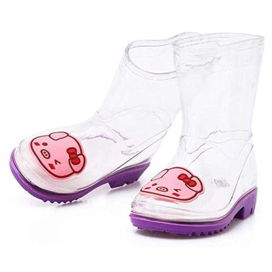 New Design Transparent Outdoor Unisex PVC Rain Boots for Kids