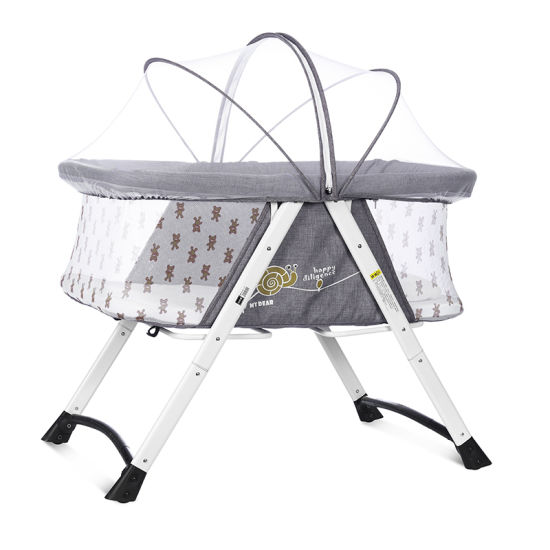 Good Quality Fast Folding En 1888 Certificated Breathable Baby Sleeping Bed, Baby Cot with Stainless Steel Frame