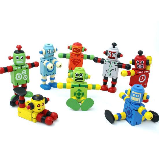 Wholesale Wooden Transform Robot Action Figure Educational Kids Toy