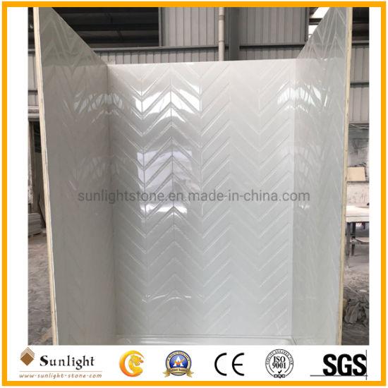 Chevron Design Artificial Cultured Marble Shower Tub Surround Panel