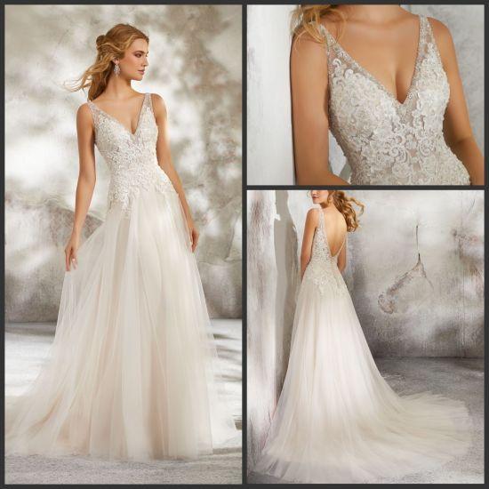 China Sleeveless Lace Bridal Dress Tulle Glittery Wedding Gowns 2019