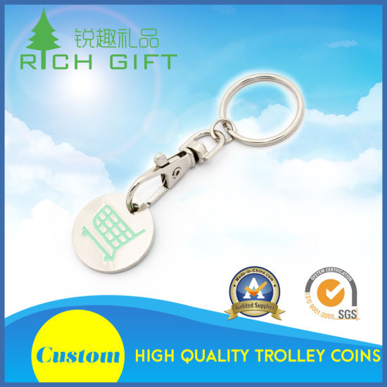 New Design Cheap Custom Metal Iron Stamped Logo Printing Nickel Plated Shopping Cart Coin Keychain