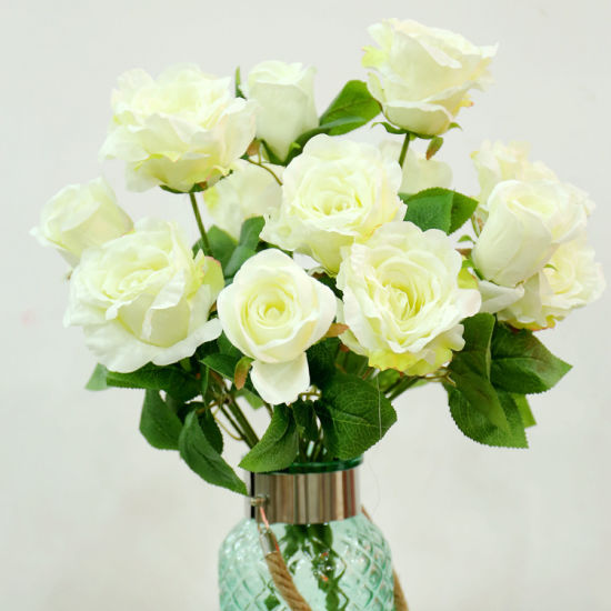 Guangzhou Factory Lifelike Artificial Silk Edge of Rose Flower for Wedding Decoration