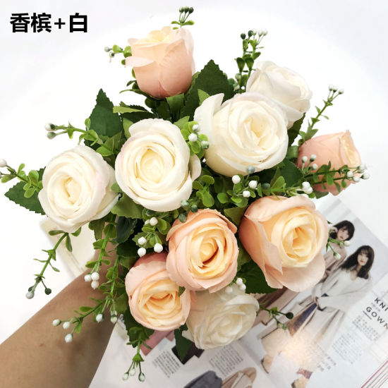 Wholesale Sale 10 Head Bridesmaid Rose Flower Artificial Silk Flowers