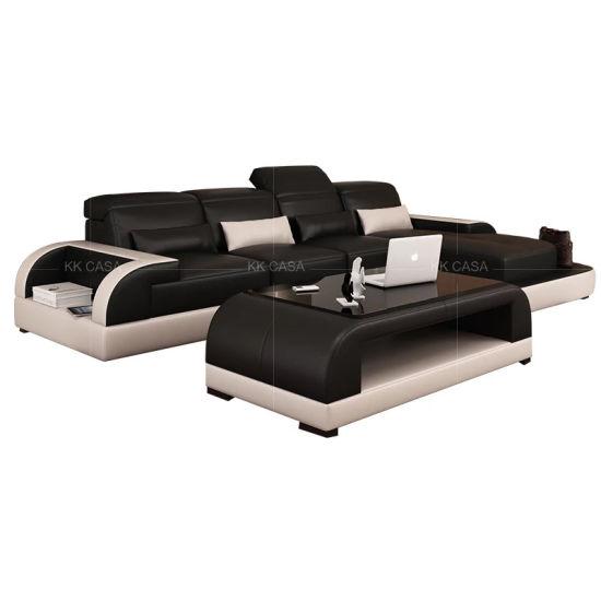 Design Small Soft L Shape Leather Sofa