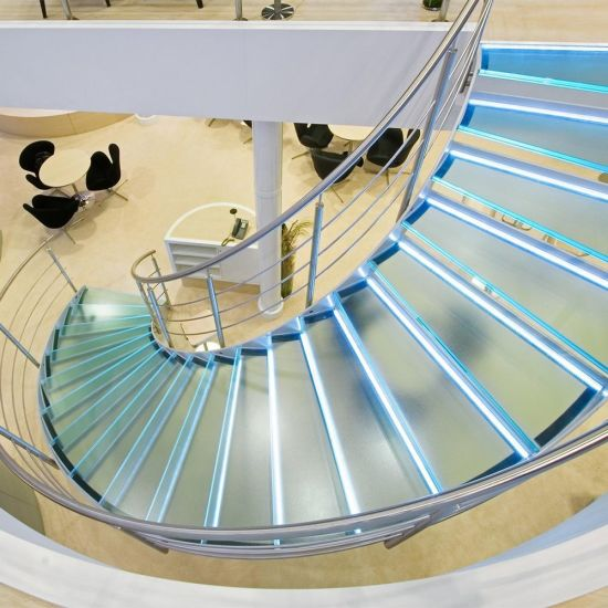 Laminated Tempered Glass Curved Staircase with LED Light