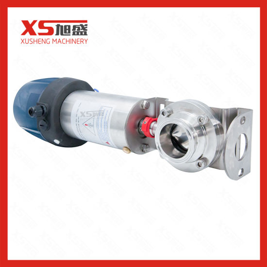 Stainless Steel Sanitation Air Pneumatic Actuated Butterfly Valves with Control Head