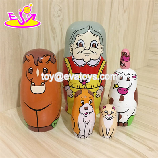 2018 High Quality 5 in 1 Cartoon Wooden Japanese Nesting Doll for Toddlers W06D102 pictures & photos