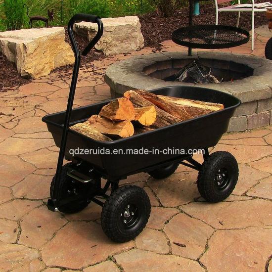 Gorilla Carts Heavy Duty Garden Poly Dump Cart With 2 In 1 Convertible  Handle