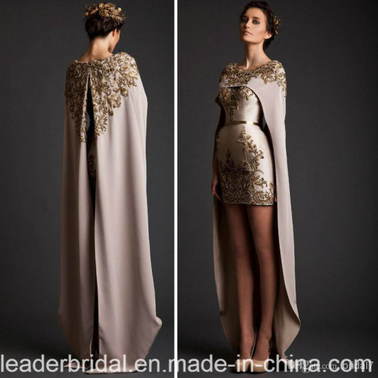 Special Krikor Jabotian Two Piece Prom Party Dresses Applique with Bead Mini Length Detachable Shawl Formal Prom Evening Dress D2008