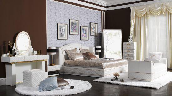 White Genuine Leather Bedroom Furniture (B003)