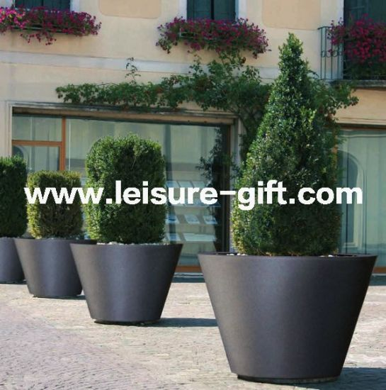 Fo 9042 Large Outdoor Ted Round Flower Pots With Metal Material