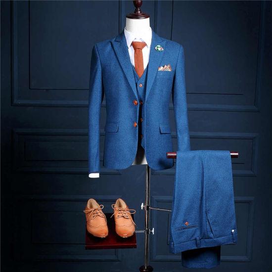 2017 New Model Customized Two Buttons Blue Mans Formal Wear for Parties Tuxedos (Coat+Pants+Vest) Ms01 Slim Fit Mans Suits Mens Wedding Suits Business Suits