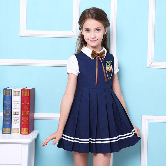 41248ed3ee5 China Fashion Girls Primary School Uniform Blue / Red Dress - China ...