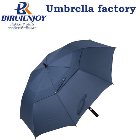 Biggest Golf Umbrella Double Canopy Auto Open Polyester Pongee Vented Windproof Umbrella
