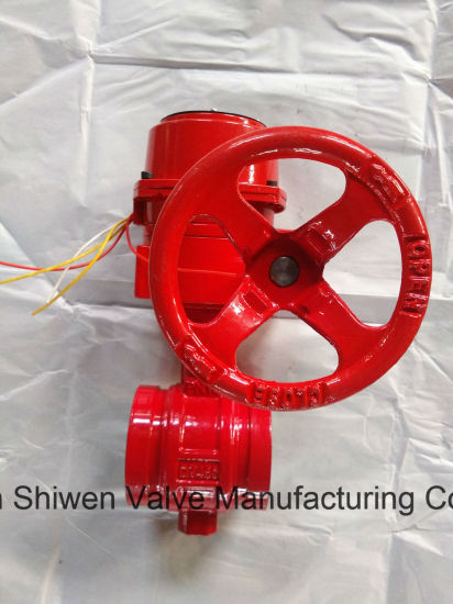 Grooved End Signal Butterfly Valve with Worm Operate pictures & photos