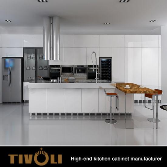 2018 Custom Modern Glossy White Kitchen Furniture With Push Open Doors Tv 0041
