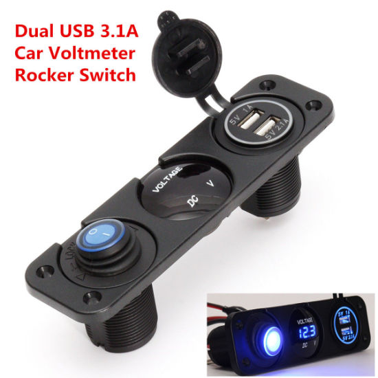Universal 12V Voltmeter Blue LED Dual USB 3.1A Car Charger Rocker Switch Panel pictures &
