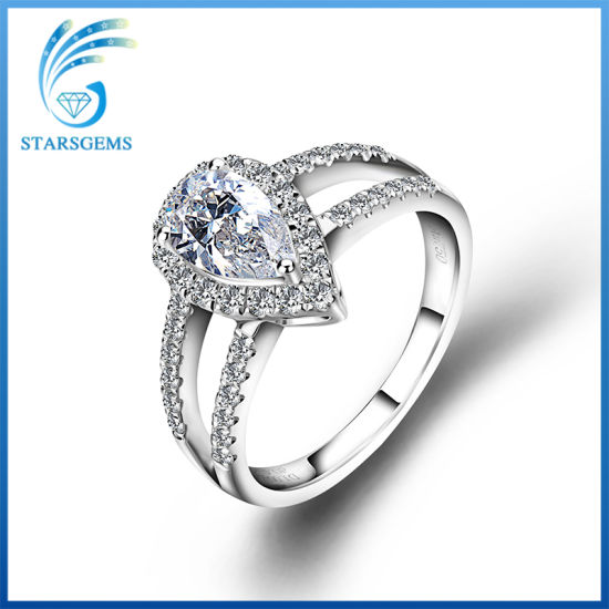 Pear Shape Brilliant Cut White Moissanite Diamond Fashion Ring for Engagement pictures & photos