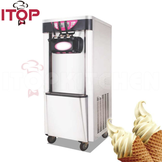 Commercial Frozen Yogurt Machine, Soft Ice Cream Machine with 3 Outlets Flavor Touch Screen pictures & photos