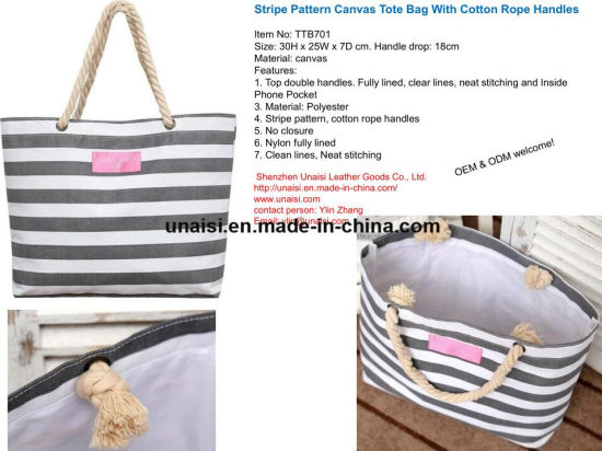 China Stripe Canvas Tote Shoulder Beach Bag with Cotton Rope Handles ... bda8654627530