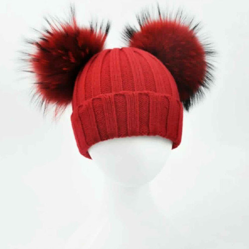 fashion Women Winter Knitted Hats with Fur Pompom Beanies