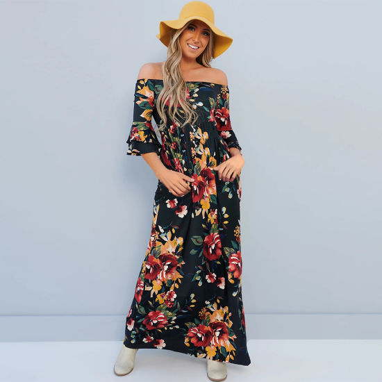 Floral Print Flared Sleeve Skirt Summer Casual Dress Women Clothes