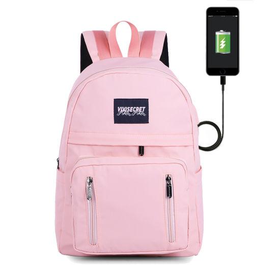 Waterproof Solid Multi-Pocket Travel USB Charging Laptop Women School Backpack