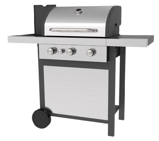 Three Burners Gas Barbecue Grill with Side Burners, Ss Lid and Ss Front Board, Gas BBQ Grills with Ce, LFGB